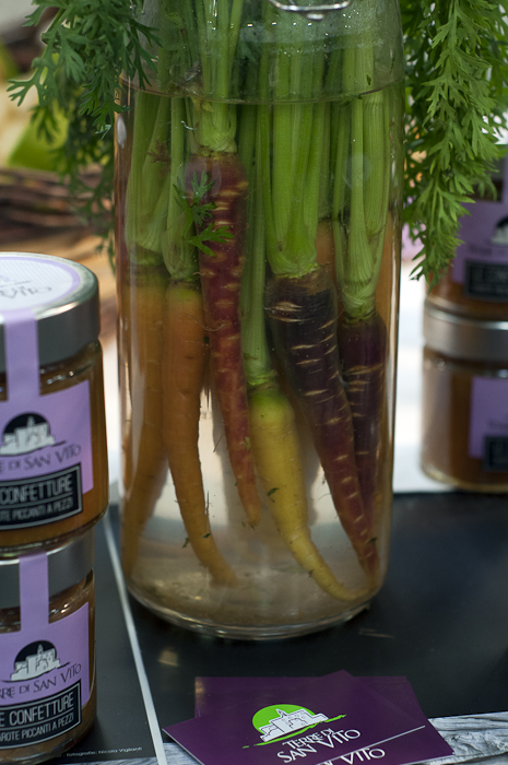 Colorful vinegar cured whole carrots