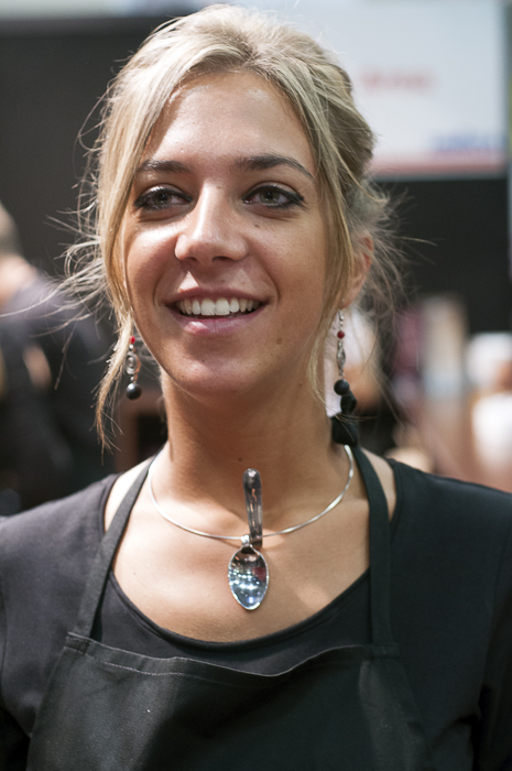 Lavazza Barista with Espresso Spoon necklace at Salone del Gusto