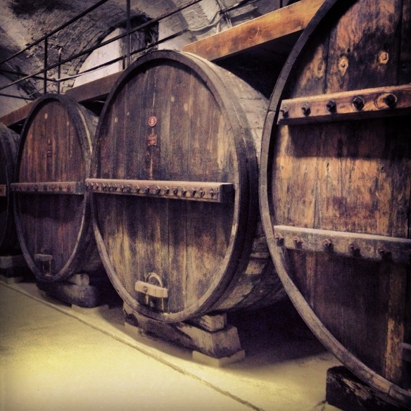 Slovakian Oak Wine Casks stand over 15 feet tall at the Pierantonj Winery in Abruzzo