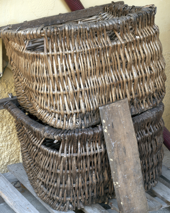 The baskets from the donkey's saddlebags