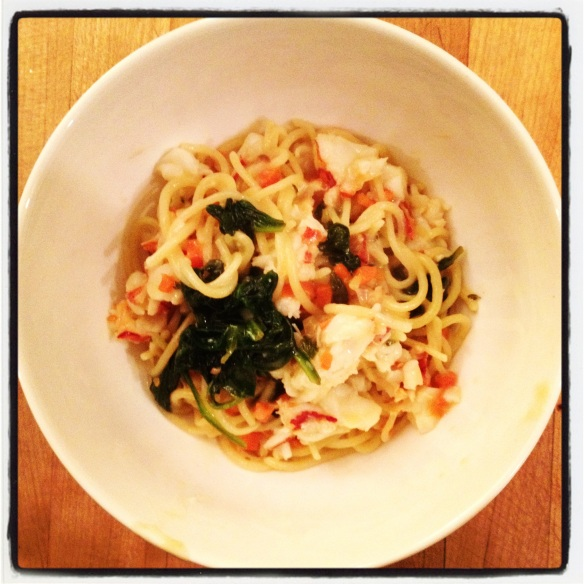 Lobster, baby spinach and preserved lemon fettuccine